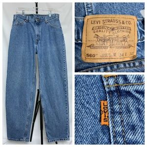 Vintage Levi's 560 Blue Tapered 80's Jeans 32x31